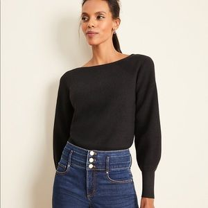 Petite Ribbed Balloon Sleeve Sweater